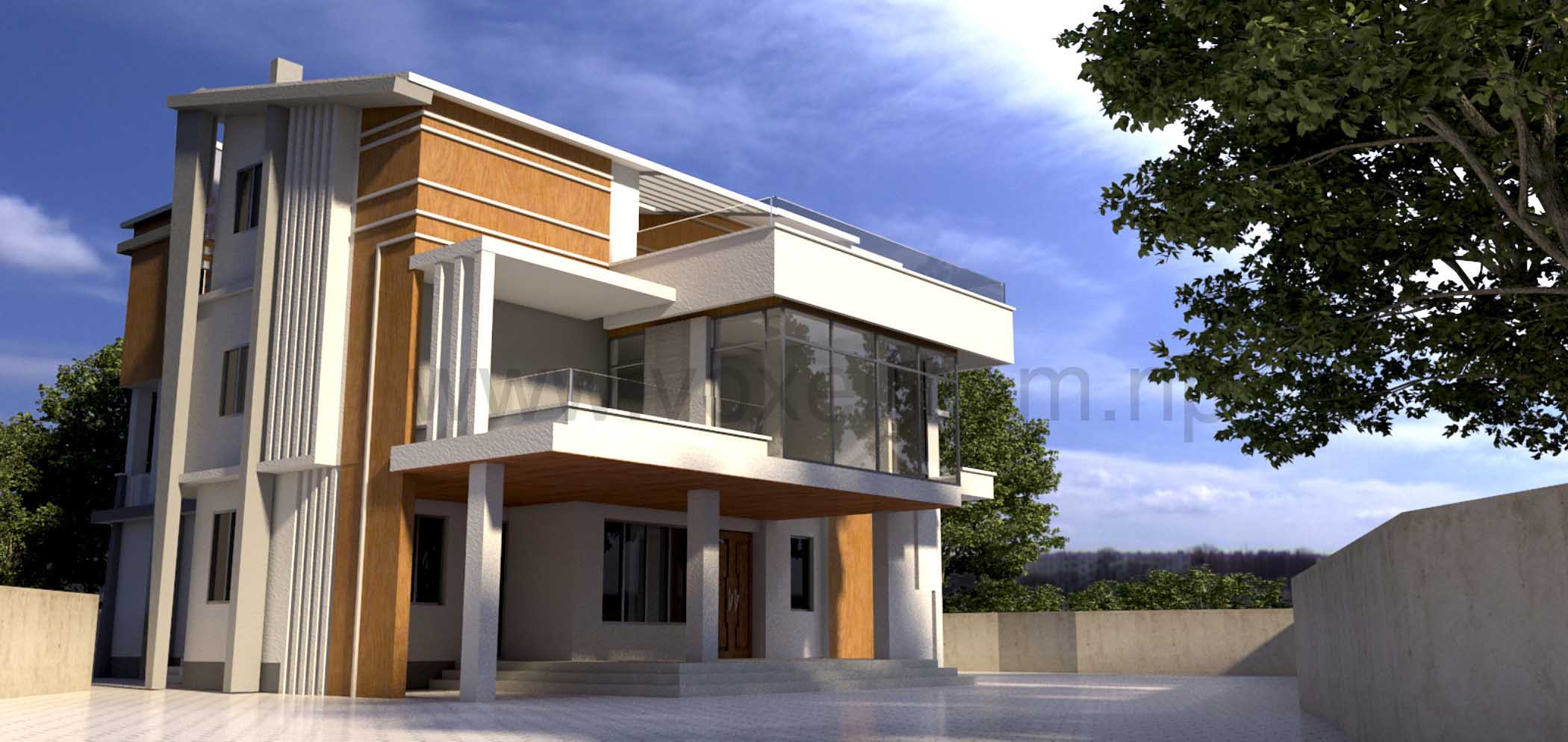 Voxel architects architect engineering consultant for Modern house design in nepal